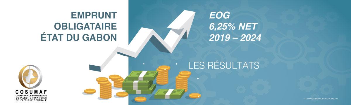 """Résultats de l'emprunt obligataire  Etat du Gabon """"EOG 6,25% Net 2019-2024"""""""